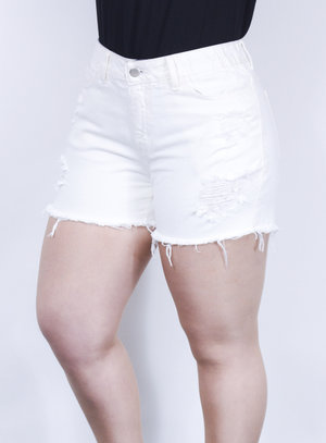 Short Jeans Destroyed com Elástico no Cós Off-White
