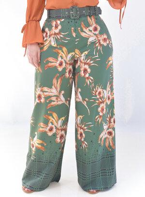 Calça Pantalona Plus Size Estampada