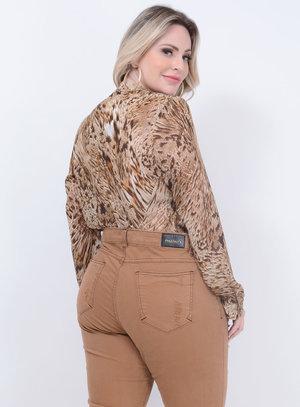 Camisa Laço Animal Print Plus Size