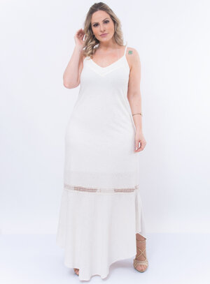 Vestido Longo Plus Size Texturizado