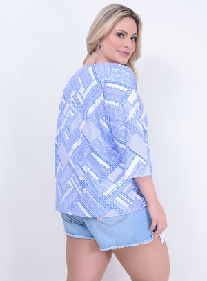 Blusa em Suplex com Decote Canoa e Estampa Azulejo Português