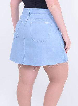 Saia em Jeans com Botões e Barra Desfiada Delavê