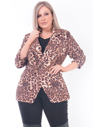 Blazer Animal Print Onça Plus Size