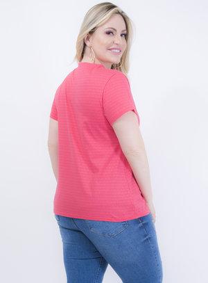 T-shirt Baby Look em Algodão Gola V Rosa Listrada