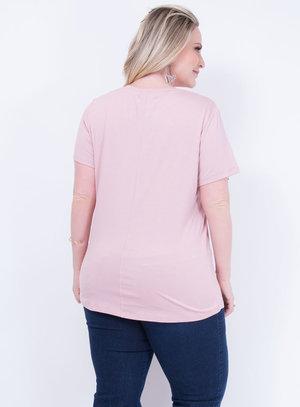 T-shirt em Malha Decote Careca Rosê