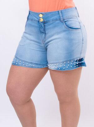 Short Jeans Plus Size Pérolas
