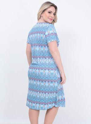 Camisola Renda Decote Azul Plus Size