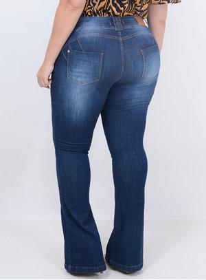Calça Jeans Flare Cinto Plus Size