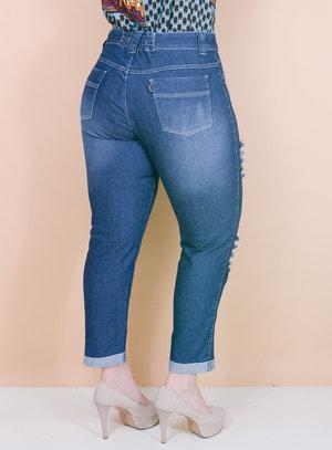 Calça Jeans Cigarrete Destroyed com Detalhe de Elástico