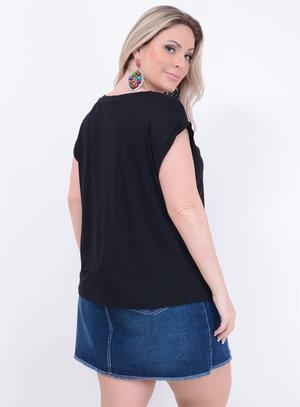 T-shirt Blessed Preta Plus Size