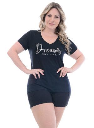 T-Shirt Plus Size Dreams Preta
