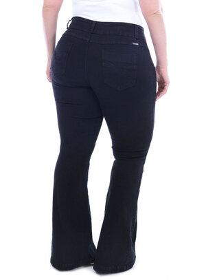Calça Jeans True E- Motion Flare Preta Plus Size