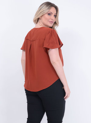 Blusa Ampla de Nó Telha Plus Size