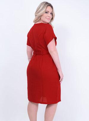 Vestido em Ráfia Tubinho com Cinto e Bolsos Vermelho