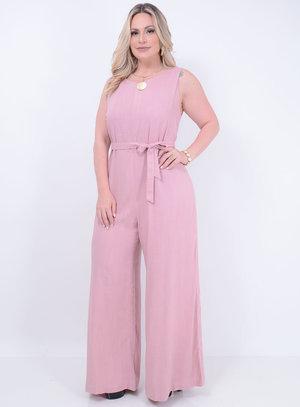 Macacão em Viscose Pantalona com Faixa Para Amarração Rosa