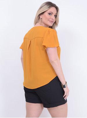 Blusa Ampla de Nó Mostarda Plus Size