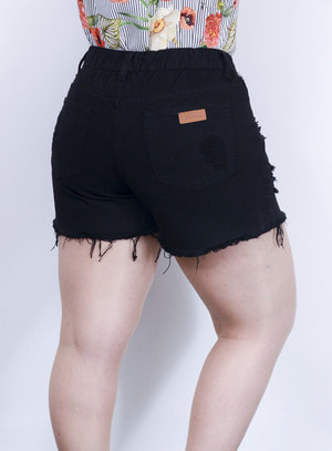 Short em Jeans Destroyed com Elástico no Cós Preto