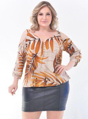 Blusa Plus Size Folhagens