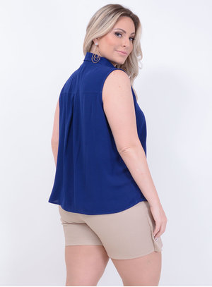 Camisa Clássica Azul Plus Size