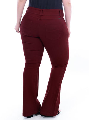 Calça Jeans True E- Motion Marsala Plus Size