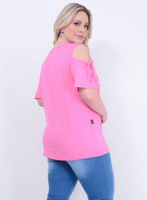 Blusa em Malha com Recorte nos Ombros e Aplicação de Gorgurão Rosa