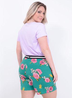 T-shirt em Malha com Estampa de Flamingos