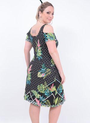 Vestido Malha Recorte Trançado Plus Size