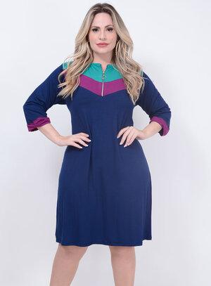 Vestido 3/4 Zíper Azul Plus Size