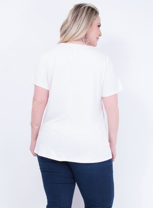 T-shirt em Malha Decote Careca Off White