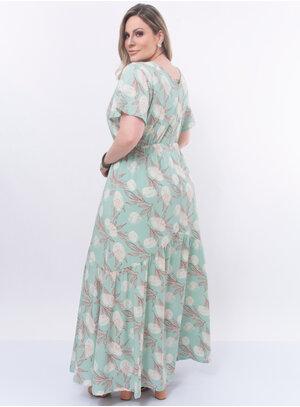 Vestido Longo Plus Size Floral