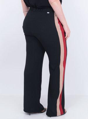Calça em Crepe Pantalona com Detalhe Bicolor nas Laterais