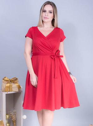 Vestido Evasê em Malha com Decote Transpassado
