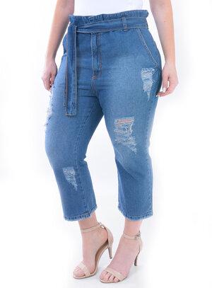 Calça Jeans Plus Size Pantacourt