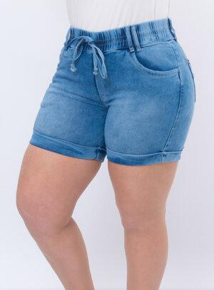 Short Jeans Plus Size com Laço