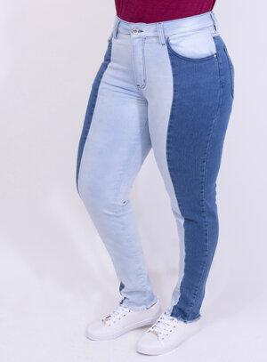 Calça em Jeans com Elastano Skinny Bicolor