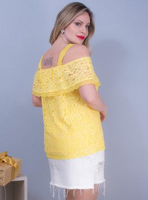 Blusa Ombro a Ombro em Renda com Babado Amarela