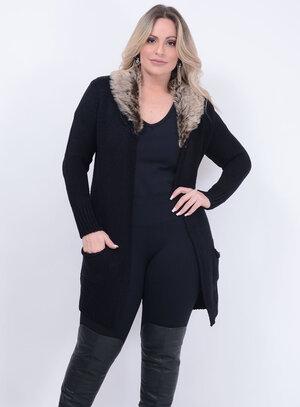 Cardigan Tricot Pêlos Plus Size