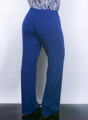 Calça Pantalona em Malha com Bolsos Azul Royal