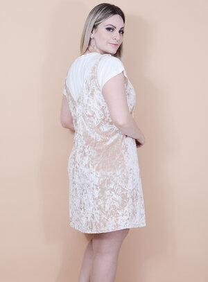 Vestido Slip Dress em Veludo Molhado com Camiseta em Viscose