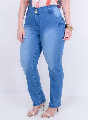 Calça em Jeans com Elastano Reta Delavê