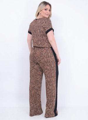 Macacão Animal Print Inverno Plus Size