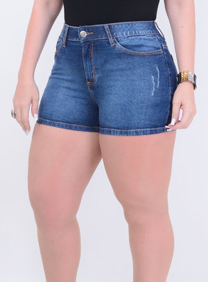 Short Jeans Curtinho Stone Wash Destroyed com Elastano e Elástico no Cós