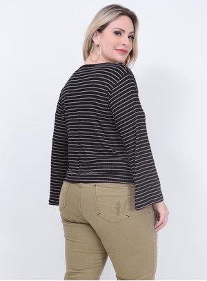 Blusa Listrada Nó Preta Plus Size
