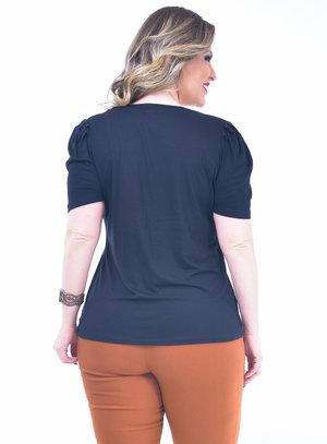 T-Shirt Plus Size Laço Preta