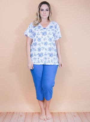 Pijama Capri em Algodão Floral