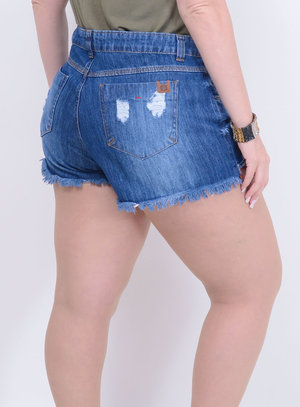 Short Jeans Destroyed Inverno Plus Size