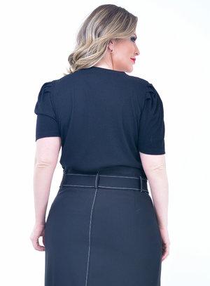 Blusa Plus Size Canelada Preta