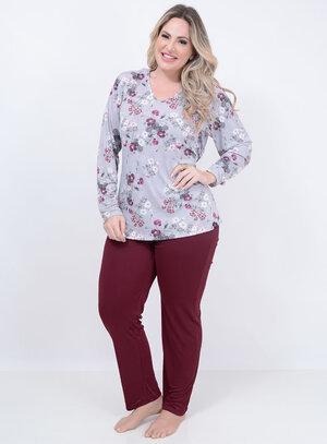 Pijama Longo Floral Bordô Plus Size