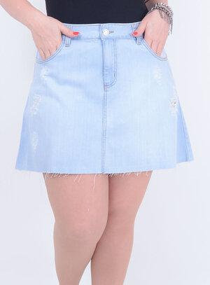 Saia em Jeans Destroyed com Barra Desfiada e Bolsos Delavê