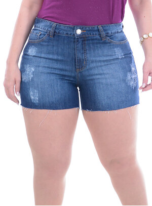 Short Jeans Attribute Barra Desfiada Plus Size